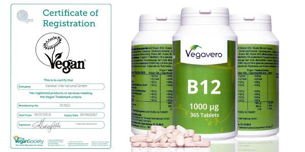 Bote 365 comprimidos Vitamina B12 Vegavero barato en Amazon España