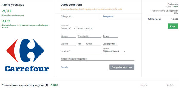 cómo aplicar descuento en la segunda unidad de Skip en Carrefour online