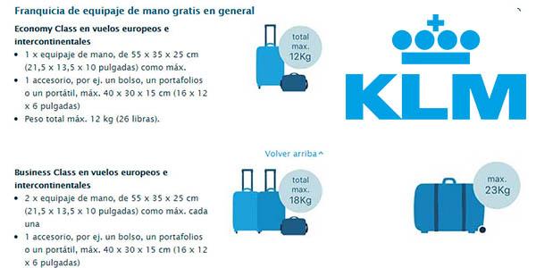 equipaje de mano KLM medidas permitidas
