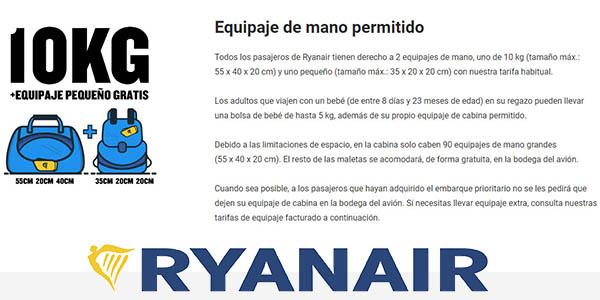 equipaje de mano permitido en Ryanair
