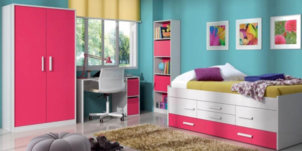 escritorio con puertas almacenaje Duehome iPink para dormitorios juveniles
