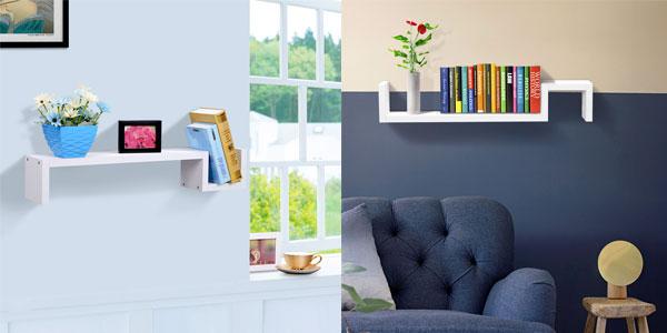 Estante colgante de pared en forma de S de color blanco barato en eBay
