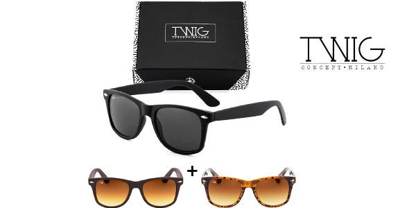 Caja de 3 gafas de sol Wayfarer de Twig Concept Milano chollazo en eBay