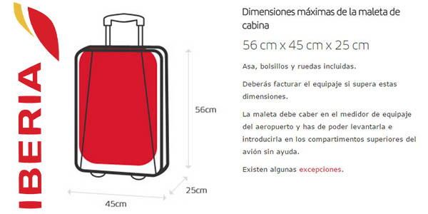 Iberia medidas de equipaje de mano permitidas en mayo 2017
