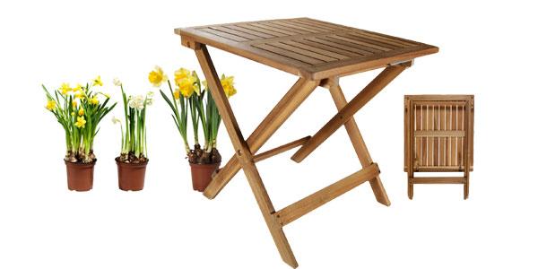 Mesa auxiliar plegable de madera de acacia chollo en eBay