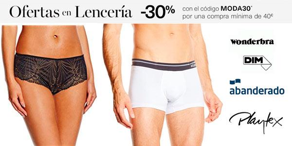 Ofertas en lencería y ropa interior en Amazon Moda con código de descuento MODA30