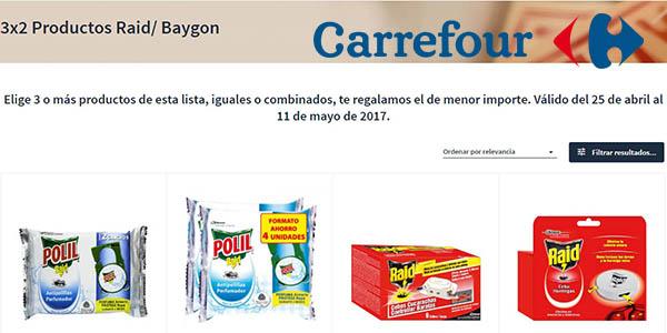 promoción 3x2 productos Raid en Carrefour mayo 2017