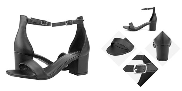 sandalias cómodas de tacón ancho en color negro rebajadas en Amazon