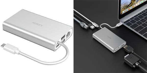 Hub AUKEY USB C con HDMI, VGA, Ethenet y USB 3.0