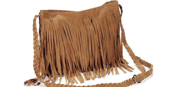 Bolso bandolera con flecos de color marrón chollo en eBay
