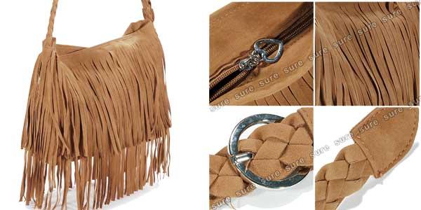 Bolso bandolera con flecos de color marrón barato en eBay