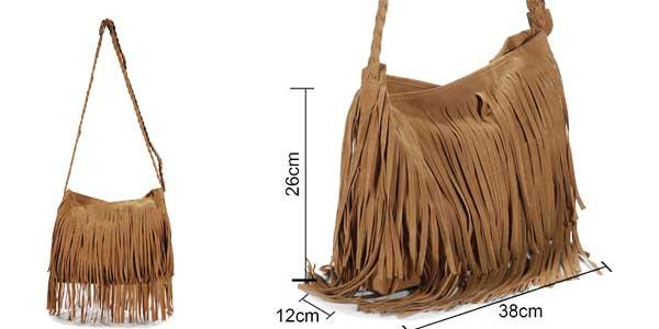 Bolso bandolera con flecos de color marrón chollazo en eBay