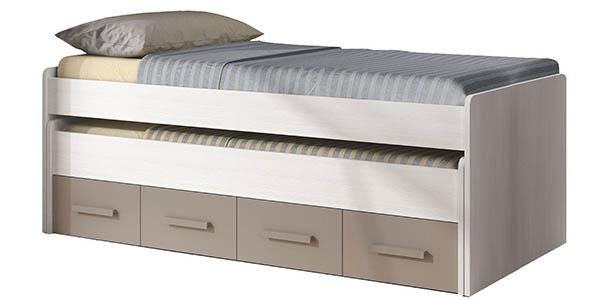 cama de diseño juvenil doble con almacenamiento interior