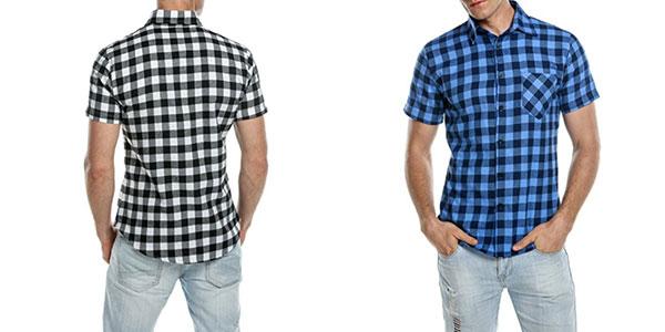 Camisa de cuadros casual de hombre Coofandy de manga corta