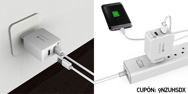 Cargador USB dodocool 1 x USB normal + 1 x USB Quick Charge 3.0