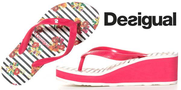 Desigual flip flop Lola Flores y Rayas sandalias tacón baratas