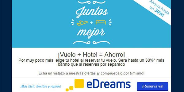 eDreams descuentos en Vuelo + Hotel junio 2017