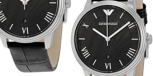 Emporio Armani AR1611 reloj analógico elegante con correa de cuero