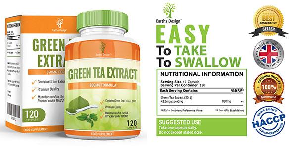 Extracto de té verde natural 120 cápsulas Earths Design