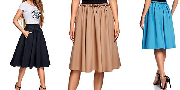 falda Oodji para mujer acampanada media pierna barata