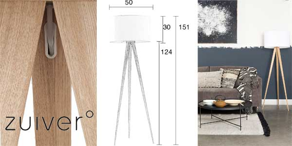 Lámpara de pie Tripod Wood de Zuiver chollo en Amazon España