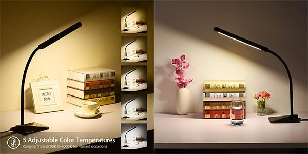 Lámpara LED con brillo y temperatura ajustable