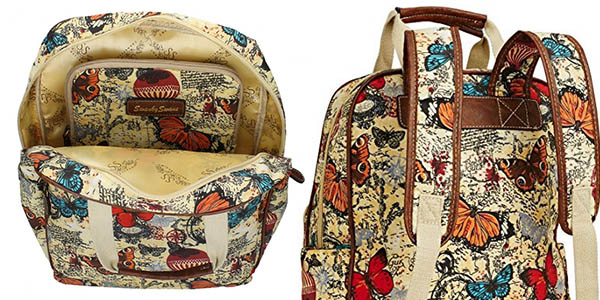 mochila casual acolchada impermeable con diseño colorido