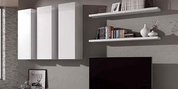 mueble salón con baldas y espacio de almacenaje