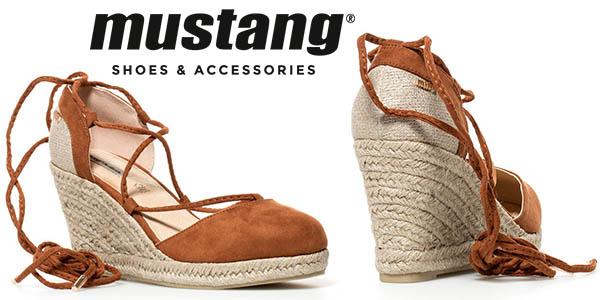Mustang Trinity camel sandalias cuña baratas