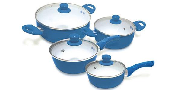 Pack de 4 ollas Pur Line de cerámica azul y tapas de cristal