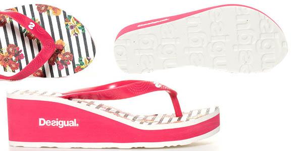 sandalias Desigual flip flop Lola Flores y Rayas con cuña 6 cm chollo