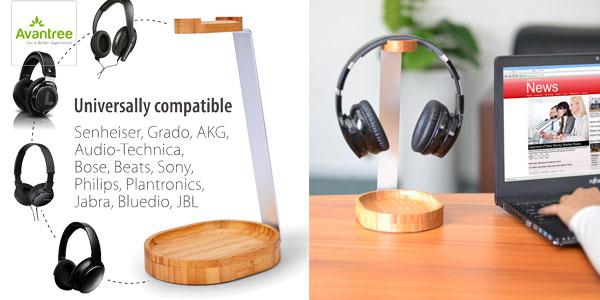 Soporte para auriculares Avantree en maderá de bambú y aluminio barato en Amazon