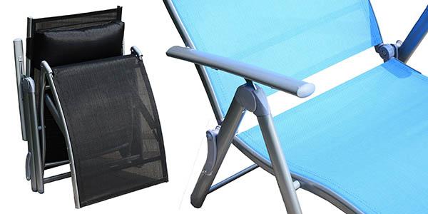 tumbona Nue en acero inoxidable y tejido transpirable regulable en posición y fácil de plegar