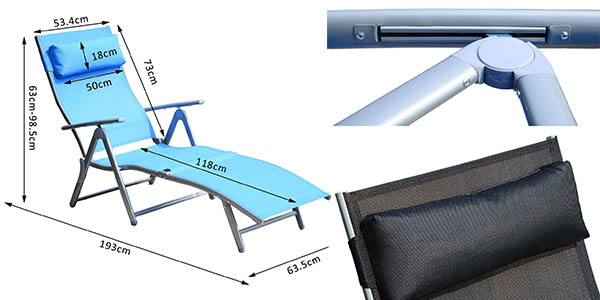 tumbona resistente cómoda para exterior gran relación calidad-precio