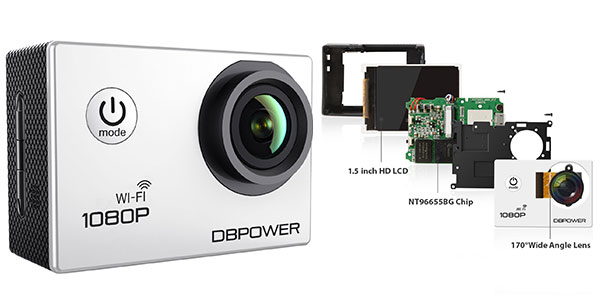 Action cam DBPOWE DV 1080p barata en Amazon