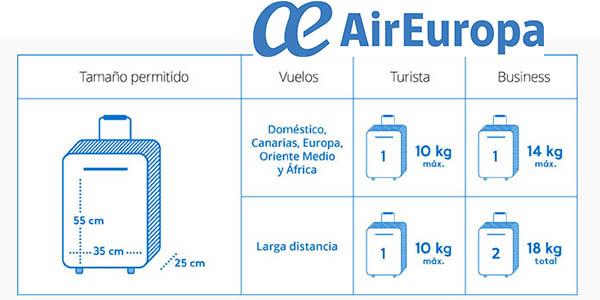 Air Europa medidas equipaje de mano vuelos