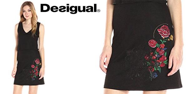 Desigual vestido negro con estampado de flores barato en Amazon