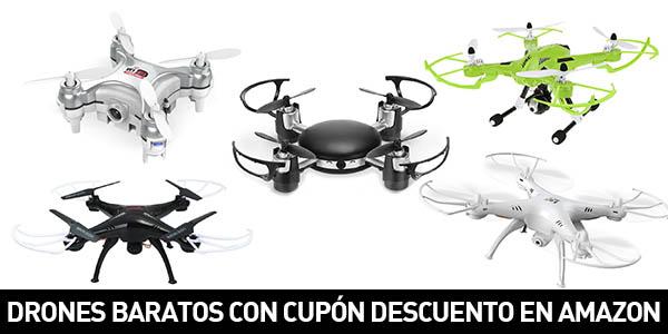 Drones baratos con cupón descuento en Amazon