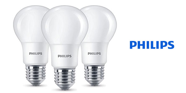 Pack de 3 bombillas LED Philips E27 baratas en Amazon
