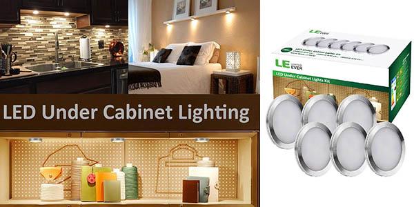Pack 6 luces LED 2 vatios para iluminar armarios baratos