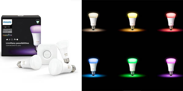 set 3 bombillas luz colores Philips Hue LED E27 programables