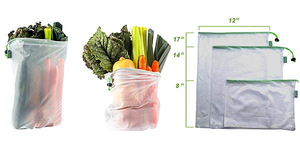 set 9 bolsas de malla transpirable para la compra con bolsa plegable multiusos