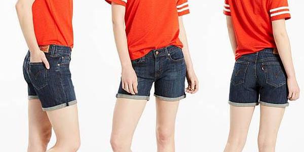 shorts tejanos para mujer Levi's pierna hasta medio muslo con descuento para clientes Amazon Prime julio 2017