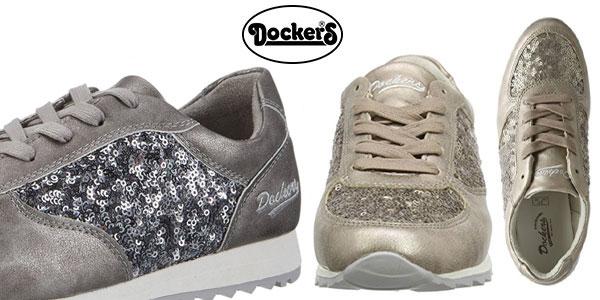 Zapatillas Dockers by Gerli para mujer en color gris y bronce muy baratas