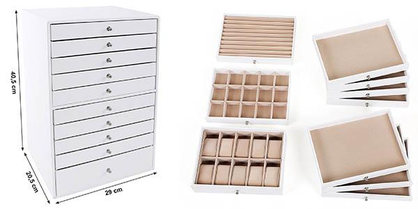 caja Songmics JBC10W compacto para guardar joyas