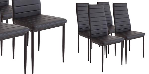 conjunto 4 sillas de comedor con respaldo alto en piel sintética negra