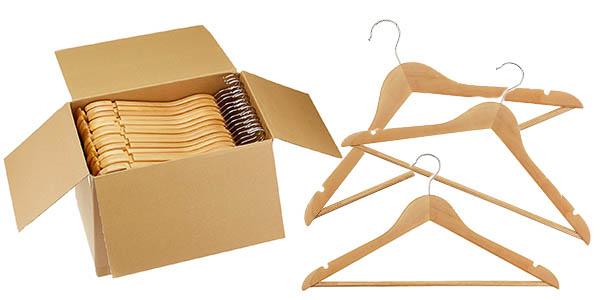 conjunto de perchas para ropa en madera resistente precio brutal