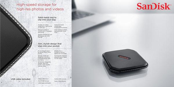 Disco Duro portátil SSD SanDisk SDSSDEXT-250G-G25 Extreme 500 de 250 GB chollazo en Amazon