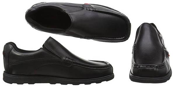 Kickers Fragma Slip zapatos en cuero color negro diseño casual