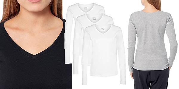 lote 3 camisetas Berydale para mujer en algodón con cuello de pico